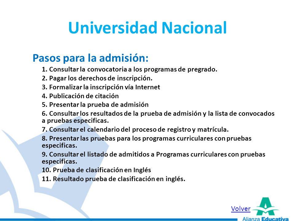 Universidad Pedagógica Fechas de admisión: Desde el 6 de Septiembre hasta el 25 de Octubre.