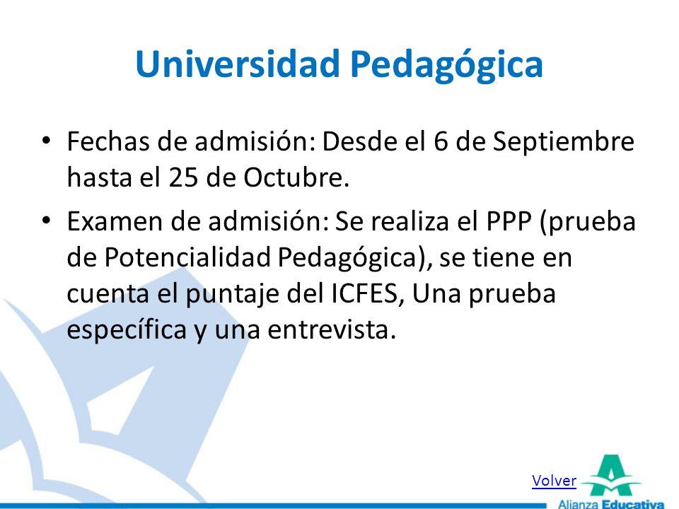 Universidad Distrital Fechas de Inscripción: Desde el 4 de Octubre hasta el 28 de Noviembre.