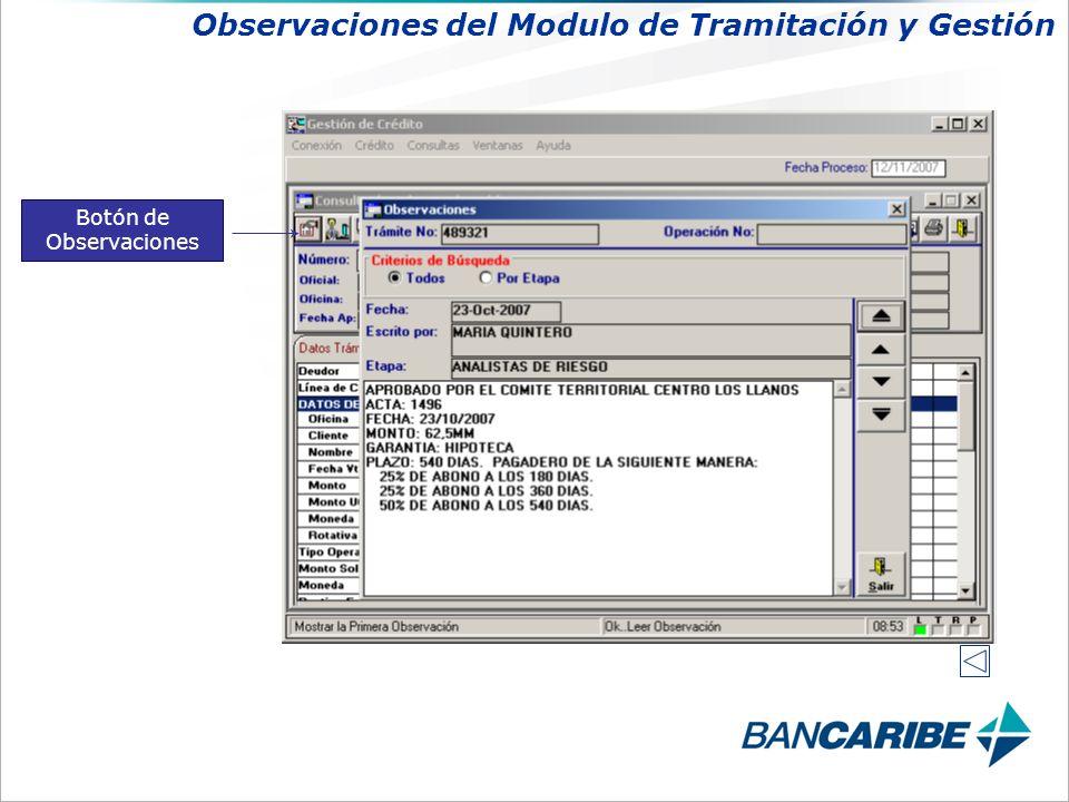 Botón de Observaciones Observaciones del Modulo de Tramitación y Gestión