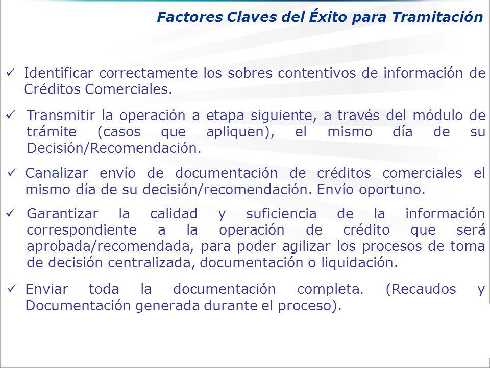 Identificar correctamente los sobres contentivos de información de Créditos Comerciales.