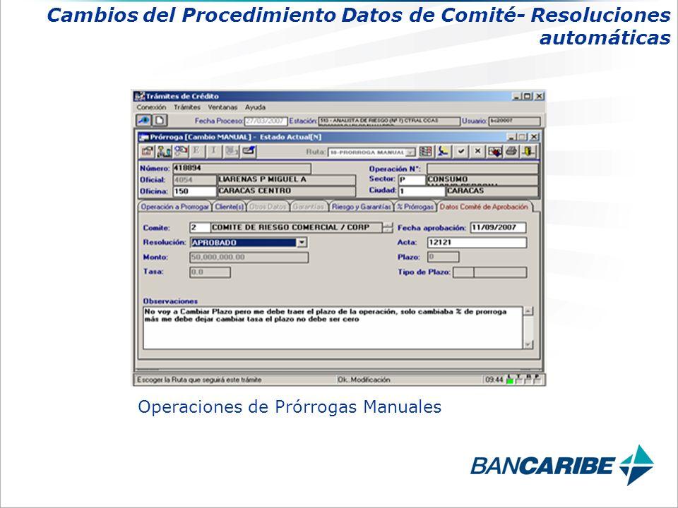 Operaciones de Prórrogas Manuales Cambios del Procedimiento Datos de Comité- Resoluciones automáticas