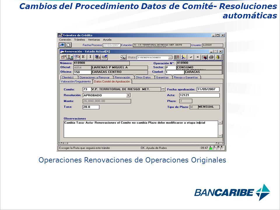 Operaciones Renovaciones de Operaciones Originales Cambios del Procedimiento Datos de Comité- Resoluciones automáticas