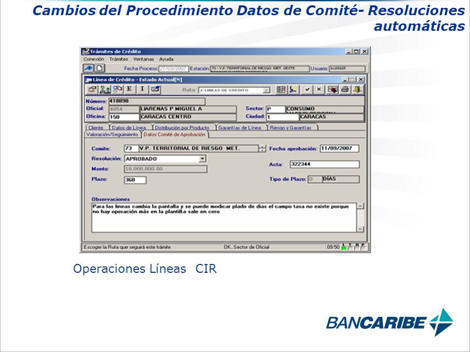 Operaciones Líneas CIR Cambios del Procedimiento Datos de Comité- Resoluciones automáticas