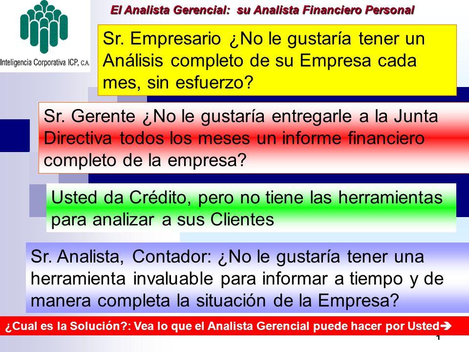 1 El Analista Gerencial: su Analista Financiero Personal Sr. Empresario ¿No le gustaría tener un Análisis completo de su Empresa cada mes, sin esfuerz