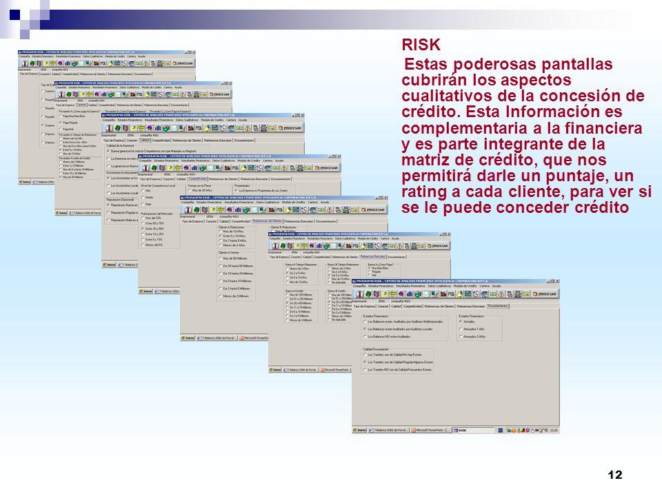 12 RISK Estas poderosas pantallas cubrirán los aspectos cualitativos de la concesión de crédito. Esta Información es complementaria a la financiera y