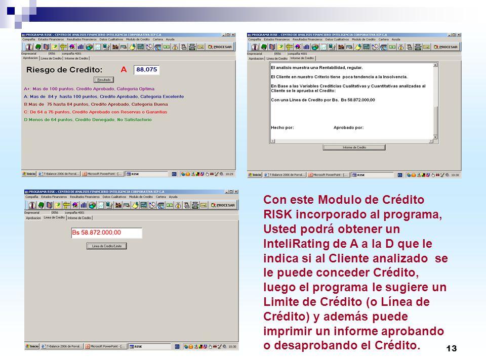 13 Con este Modulo de Crédito RISK incorporado al programa, Usted podrá obtener un InteliRating de A a la D que le indica si al Cliente analizado se l