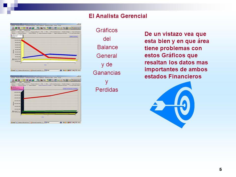 5 El Analista Gerencial Gráficos del Balance General y de Ganancias y Perdidas De un vistazo vea que esta bien y en que área tiene problemas con estos