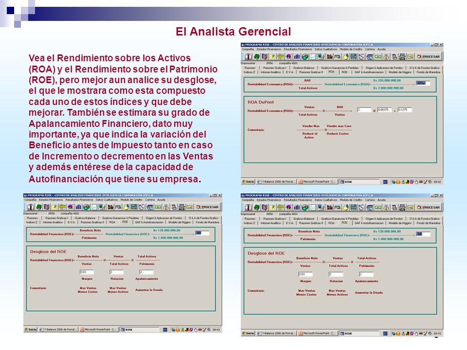9 El Analista Gerencial Vea el Rendimiento sobre los Activos (ROA) y el Rendimiento sobre el Patrimonio (ROE), pero mejor aun analice su desglose, el