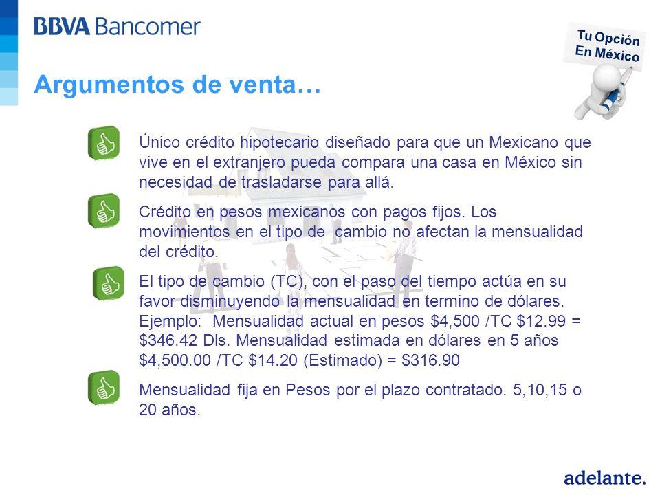 Argumentos de venta… Único crédito hipotecario diseñado para que un Mexicano que vive en el extranjero pueda compara una casa en México sin necesidad