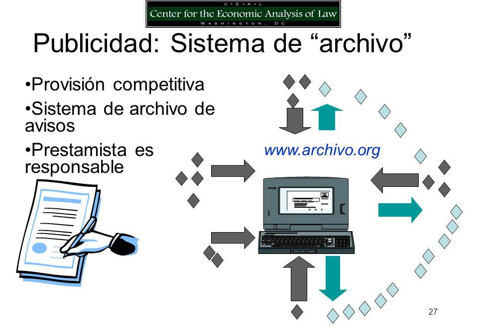 26 Provisión monopolística de servicios Registro del contrato Responsabilidad del registro.