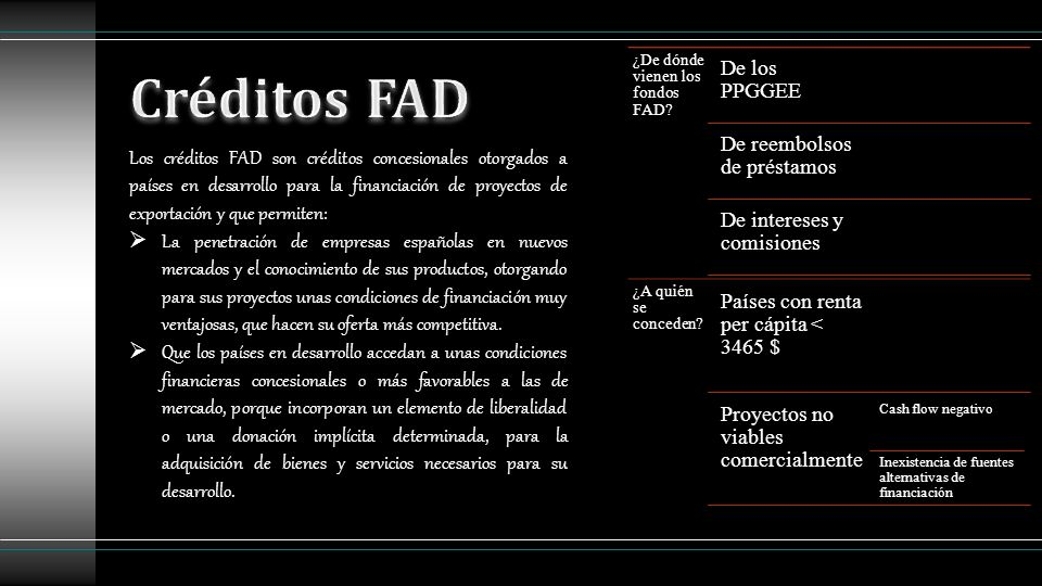 Los créditos FAD son créditos concesionales otorgados a países en desarrollo para la financiación de proyectos de exportación y que permiten: La penet
