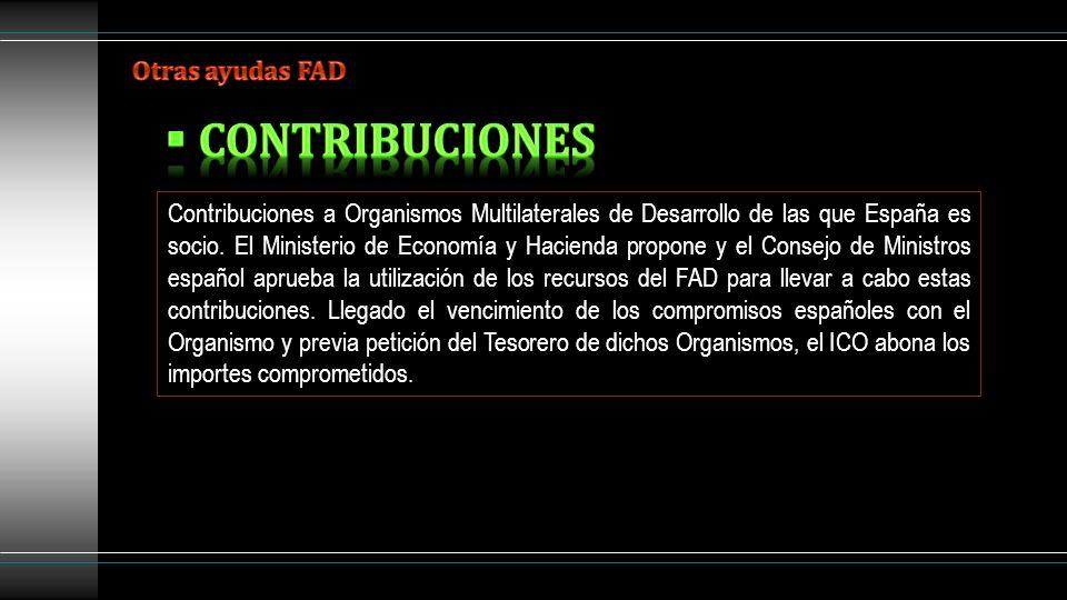 Contribuciones a Organismos Multilaterales de Desarrollo de las que España es socio. El Ministerio de Economía y Hacienda propone y el Consejo de Mini