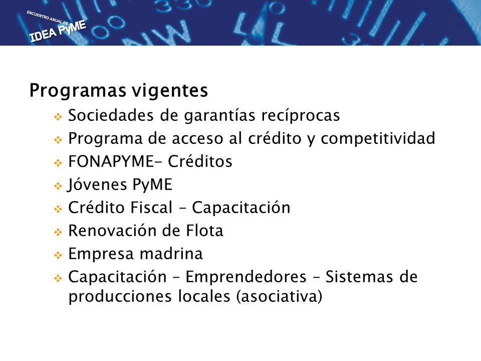 Programas vigentes Sociedades de garantías recíprocas Programa de acceso al crédito y competitividad FONAPYME- Créditos Jóvenes PyME Crédito Fiscal – Capacitación Renovación de Flota Empresa madrina Capacitación – Emprendedores – Sistemas de producciones locales (asociativa)