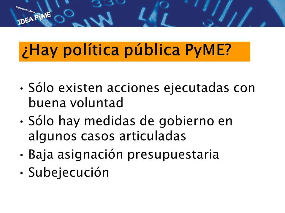 Sólo existen acciones ejecutadas con buena voluntad Sólo hay medidas de gobierno en algunos casos articuladas Baja asignación presupuestaria Subejecución ¿Hay política pública PyME
