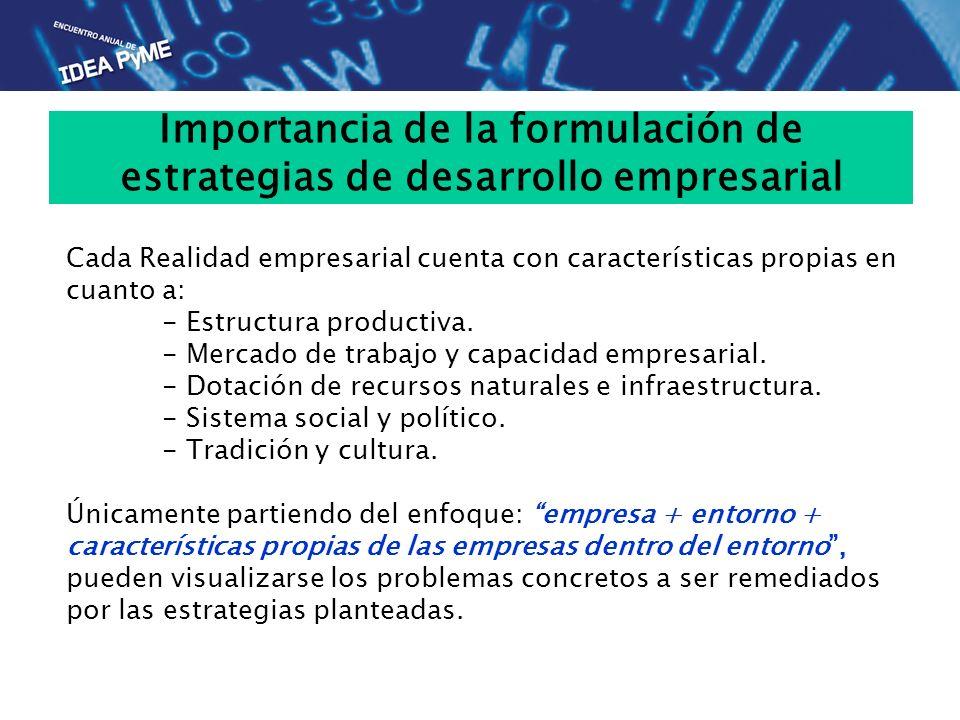 Importancia de la formulación de estrategias de desarrollo empresarial Cada Realidad empresarial cuenta con características propias en cuanto a: - Est