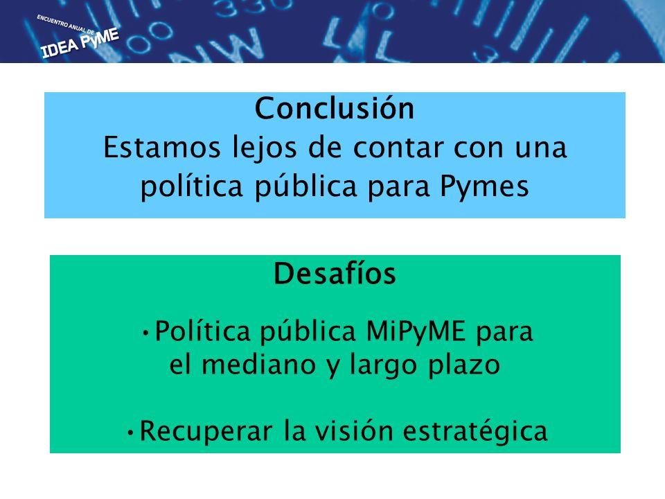 Conclusión Estamos lejos de contar con una política pública para Pymes Desafíos Política pública MiPyME para el mediano y largo plazo Recuperar la visión estratégica