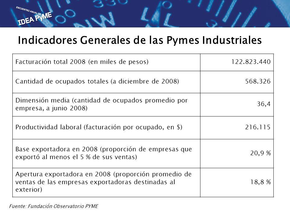 Facturación total 2008 (en miles de pesos)122.823.440 Cantidad de ocupados totales (a diciembre de 2008)568.326 Dimensión media (cantidad de ocupados promedio por empresa, a junio 2008) 36,4 Productividad laboral (facturación por ocupado, en $)216.115 Base exportadora en 2008 (proporción de empresas que exportó al menos el 5 % de sus ventas) 20,9 % Apertura exportadora en 2008 (proporción promedio de ventas de las empresas exportadoras destinadas al exterior) 18,8 % Fuente: Fundación Observatorio PYME Indicadores Generales de las Pymes Industriales