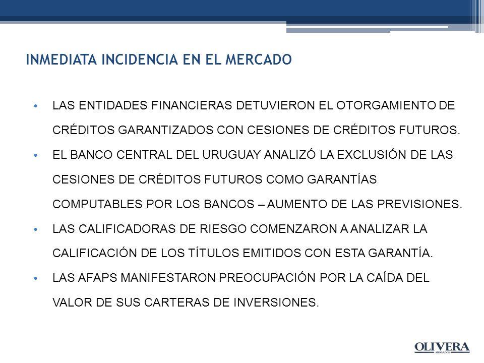 INMEDIATA INCIDENCIA EN EL MERCADO LAS ENTIDADES FINANCIERAS DETUVIERON EL OTORGAMIENTO DE CRÉDITOS GARANTIZADOS CON CESIONES DE CRÉDITOS FUTUROS.