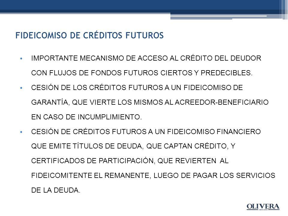 FIDEICOMISO DE CRÉDITOS FUTUROS IMPORTANTE MECANISMO DE ACCESO AL CRÉDITO DEL DEUDOR CON FLUJOS DE FONDOS FUTUROS CIERTOS Y PREDECIBLES.