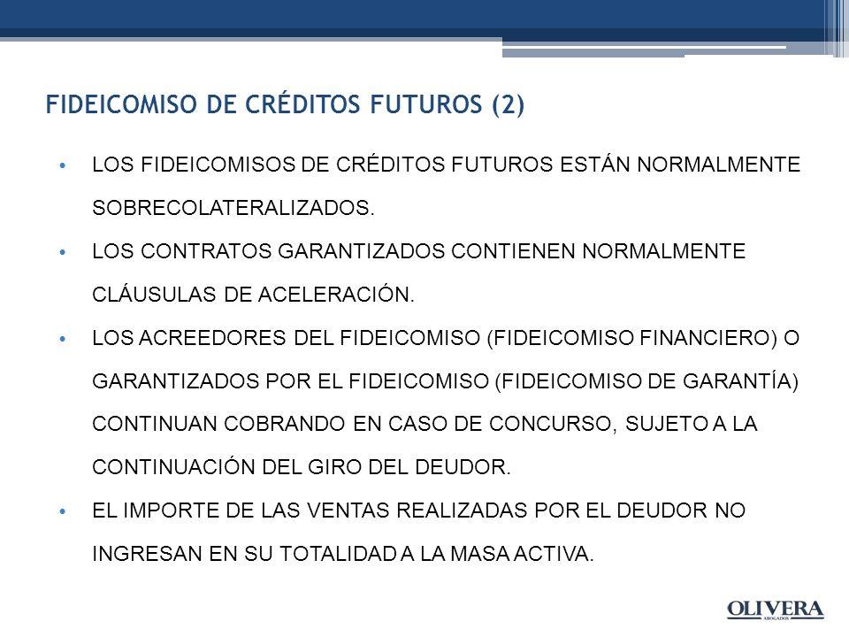 FIDEICOMISO DE CRÉDITOS FUTUROS (2) LOS FIDEICOMISOS DE CRÉDITOS FUTUROS ESTÁN NORMALMENTE SOBRECOLATERALIZADOS.