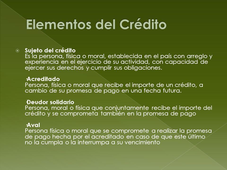 Sujeto del crédito Es la persona, física o moral, establecida en el país con arreglo y experiencia en el ejercicio de su actividad, con capacidad de e