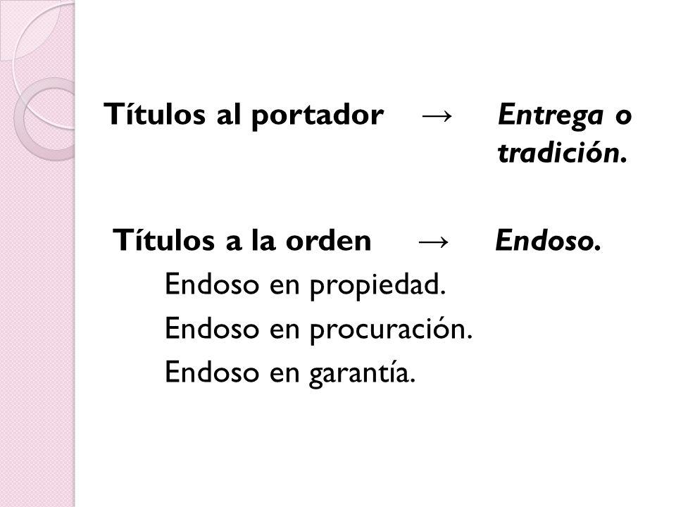 Títulos al portador Entrega o tradición.Títulos a la orden Endoso.