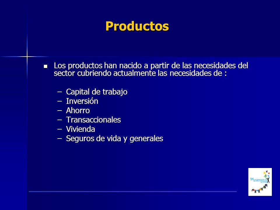 Productos Los productos han nacido a partir de las necesidades del sector cubriendo actualmente las necesidades de : – –Capital de trabajo – –Inversión – –Ahorro – –Transaccionales – –Vivienda – –Seguros de vida y generales