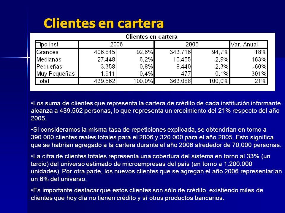 Clientes en cartera Los suma de clientes que representa la cartera de crédito de cada institución informante alcanza a 439.562 personas, lo que representa un crecimiento del 21% respecto del año 2005.