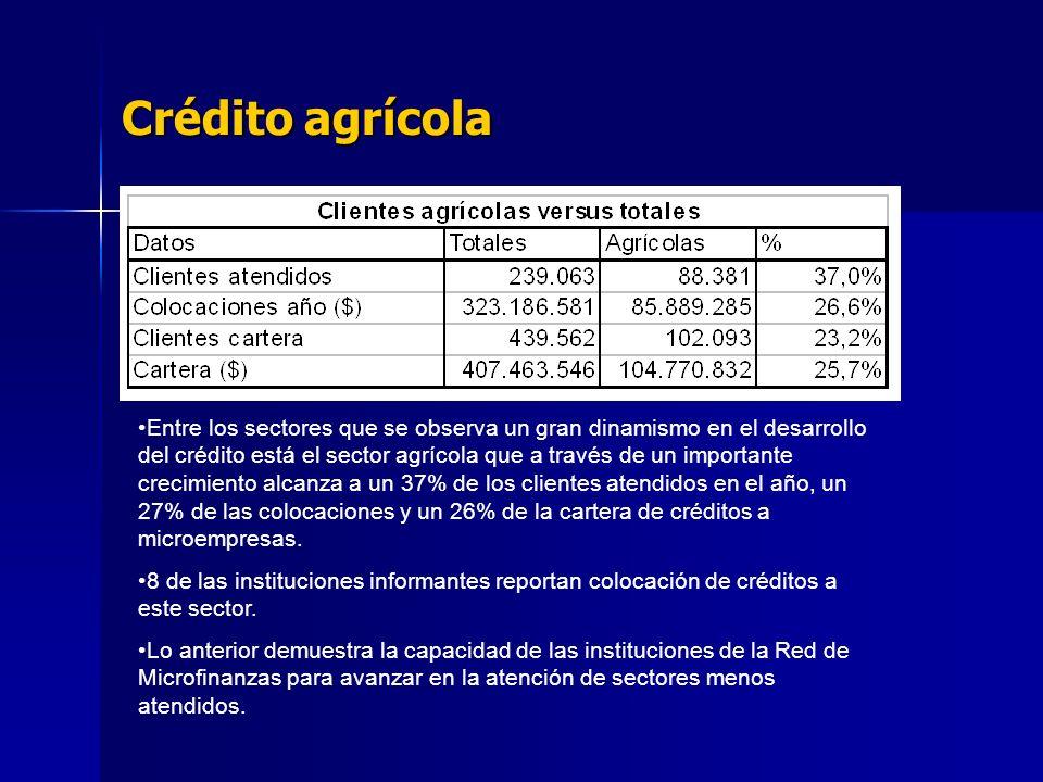 Crédito agrícola Entre los sectores que se observa un gran dinamismo en el desarrollo del crédito está el sector agrícola que a través de un importante crecimiento alcanza a un 37% de los clientes atendidos en el año, un 27% de las colocaciones y un 26% de la cartera de créditos a microempresas.