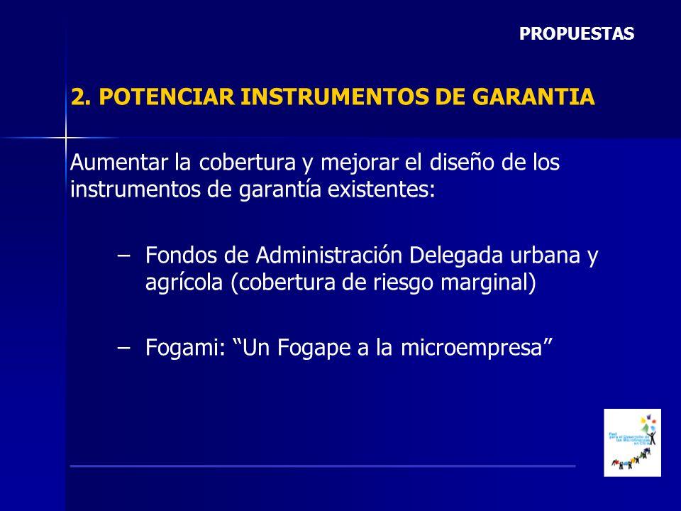 2. POTENCIAR INSTRUMENTOS DE GARANTIA Aumentar la cobertura y mejorar el diseño de los instrumentos de garantía existentes: – –Fondos de Administració