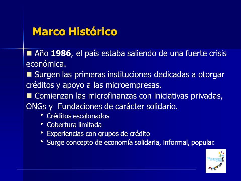 Marco Histórico Marco Histórico Año 1986, el país estaba saliendo de una fuerte crisis económica.