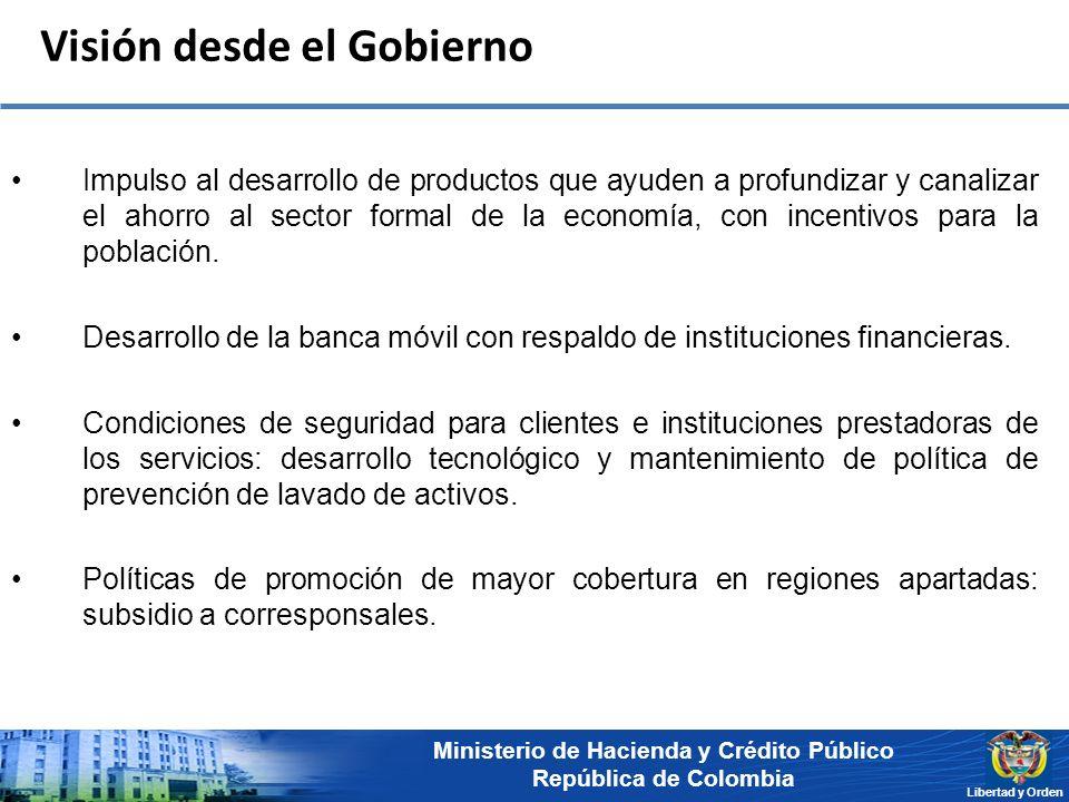 Ministerio de Hacienda y Crédito Público República de Colombia Libertad y Orden Visión desde el Gobierno Impulso al desarrollo de productos que ayuden a profundizar y canalizar el ahorro al sector formal de la economía, con incentivos para la población.