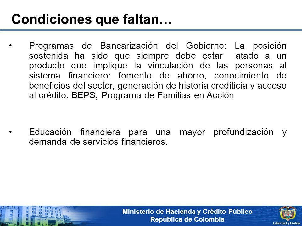 Ministerio de Hacienda y Crédito Público República de Colombia Libertad y Orden Programas de Bancarización del Gobierno: La posición sostenida ha sido