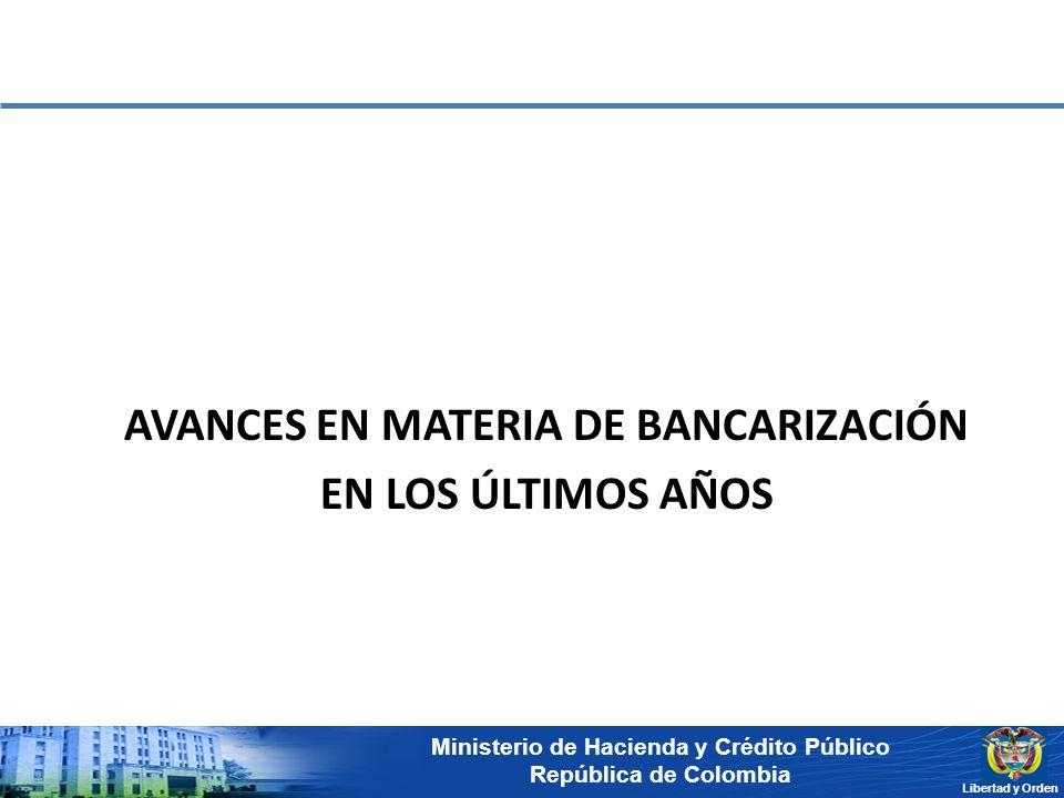 Ministerio de Hacienda y Crédito Público República de Colombia Libertad y Orden AVANCES EN MATERIA DE BANCARIZACIÓN EN LOS ÚLTIMOS AÑOS