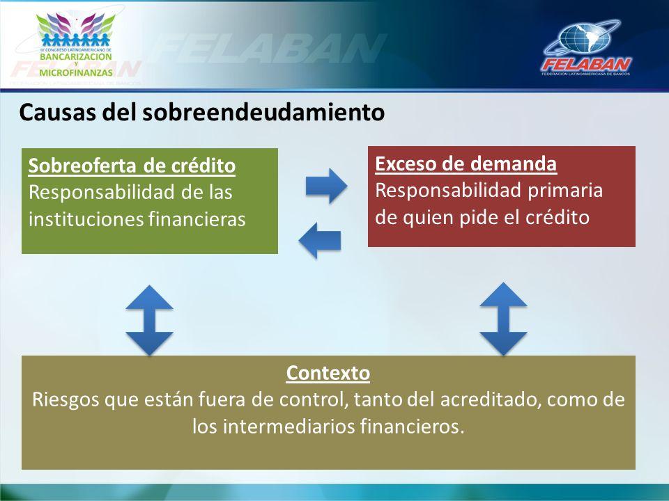 Causas del sobreendeudamiento Sobreoferta de crédito Responsabilidad de las instituciones financieras Exceso de demanda Responsabilidad primaria de qu