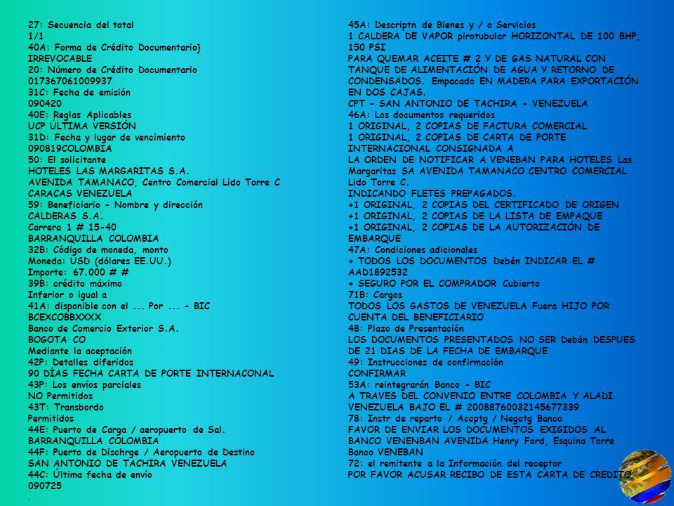 27: Secuencia del total 1/1 40A: Forma de Crédito Documentario} IRREVOCABLE 20: Número de Crédito Documentario 017367061009937 31C: Fecha de emisión 090420 40E: Reglas Aplicables UCP ÚLTIMA VERSIÓN 31D: Fecha y lugar de vencimiento 090819COLOMBIA 50: El solicitante HOTELES LAS MARGARITAS S.A.