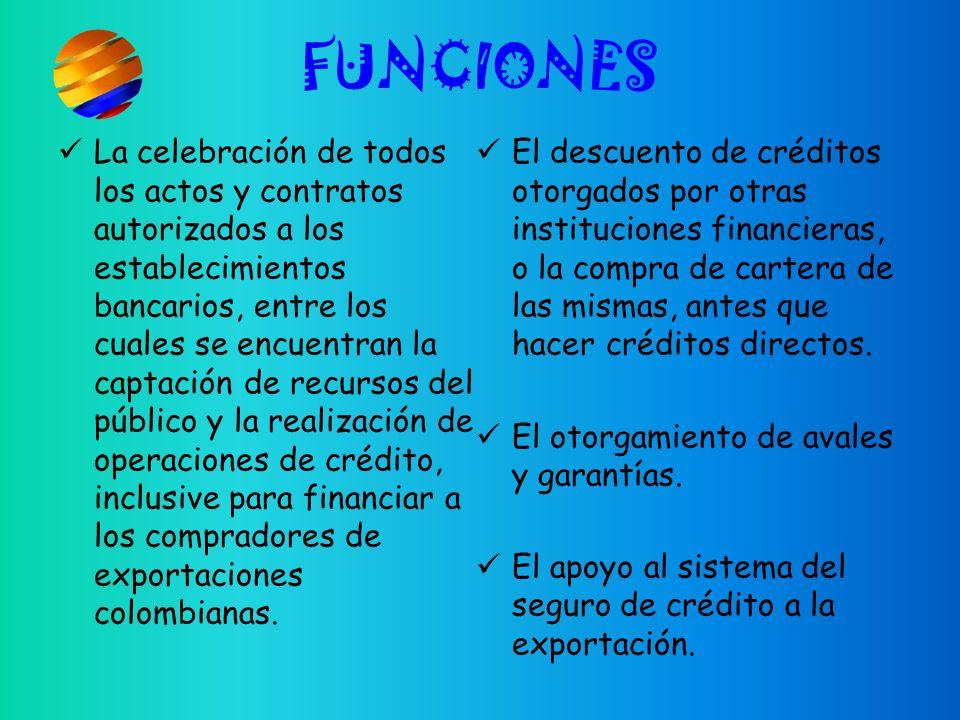 FUNCIONES La celebración de todos los actos y contratos autorizados a los establecimientos bancarios, entre los cuales se encuentran la captación de recursos del público y la realización de operaciones de crédito, inclusive para financiar a los compradores de exportaciones colombianas.