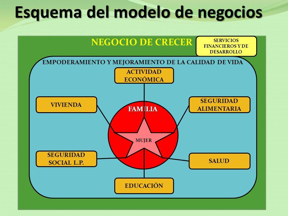 NEGOCIO DE CRECER Esquema del modelo de negocios EMPODERAMIENTO Y MEJORAMIENTO DE LA CALIDAD DE VIDA FAMILIA MUJER ACTIVIDAD ECONÓMICA SEGURIDAD ALIME