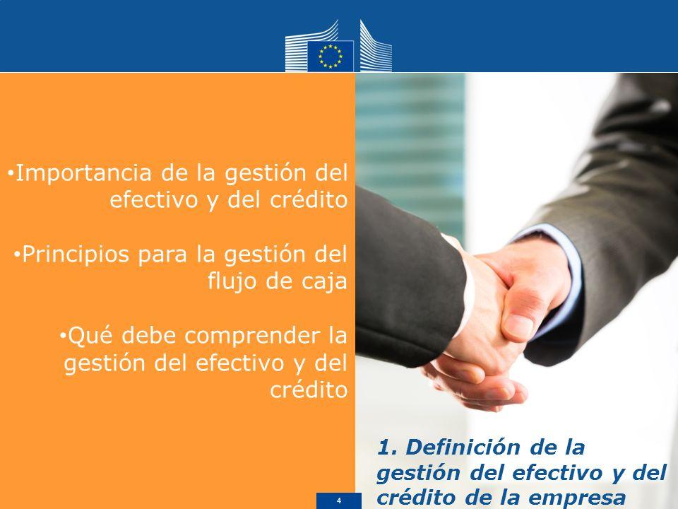 Importancia de la gestión del efectivo y del crédito Principios para la gestión del flujo de caja Qué debe comprender la gestión del efectivo y del crédito 1.