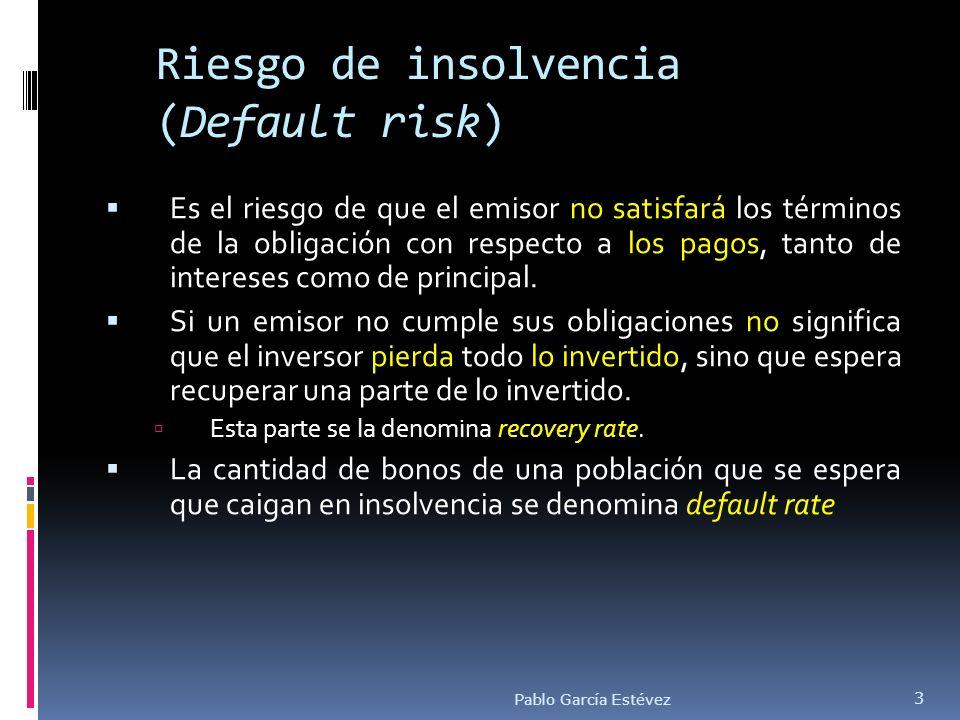 Riesgo de insolvencia (Default risk) Es el riesgo de que el emisor no satisfará los términos de la obligación con respecto a los pagos, tanto de inter