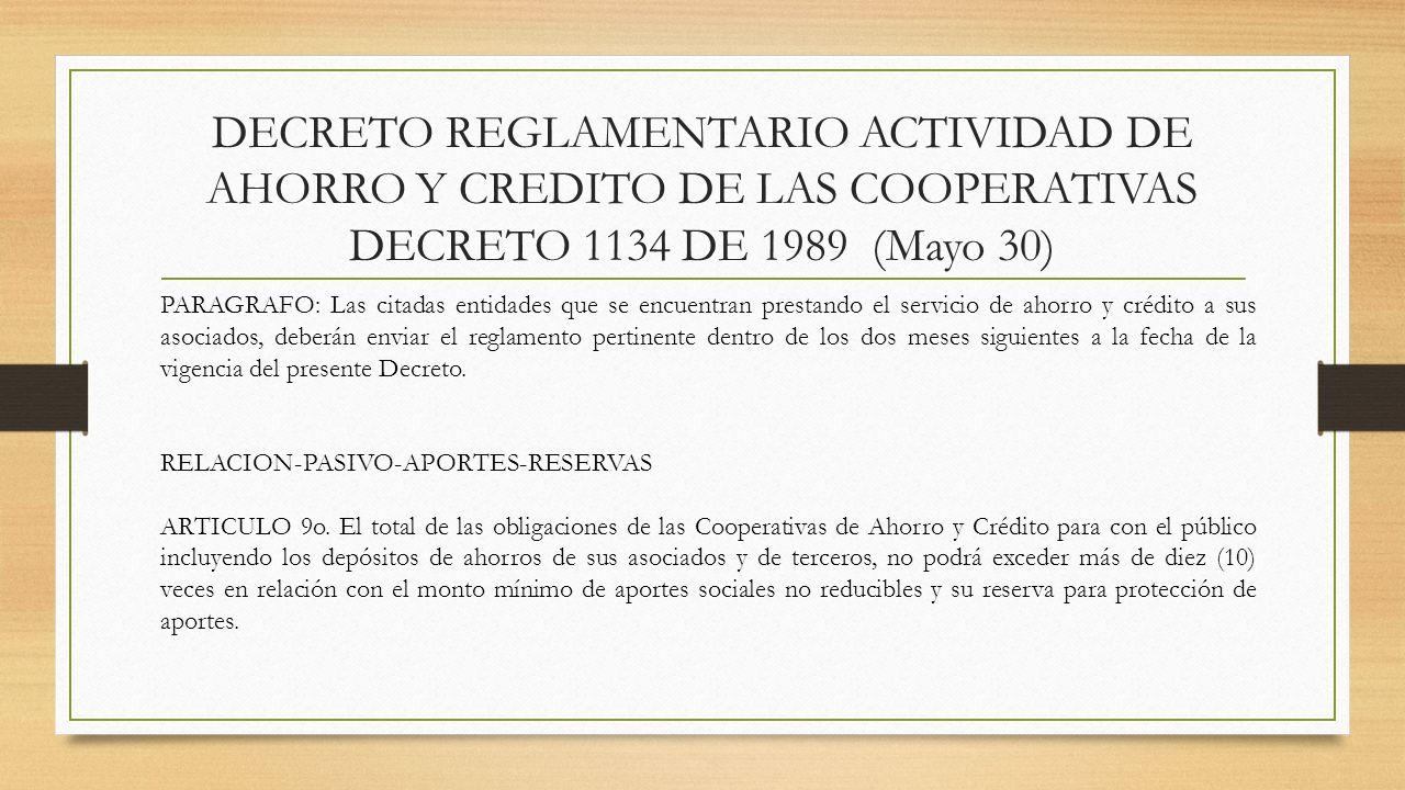DECRETO REGLAMENTARIO ACTIVIDAD DE AHORRO Y CREDITO DE LAS COOPERATIVAS DECRETO 1134 DE 1989 (Mayo 30) PARAGRAFO: Las citadas entidades que se encuent