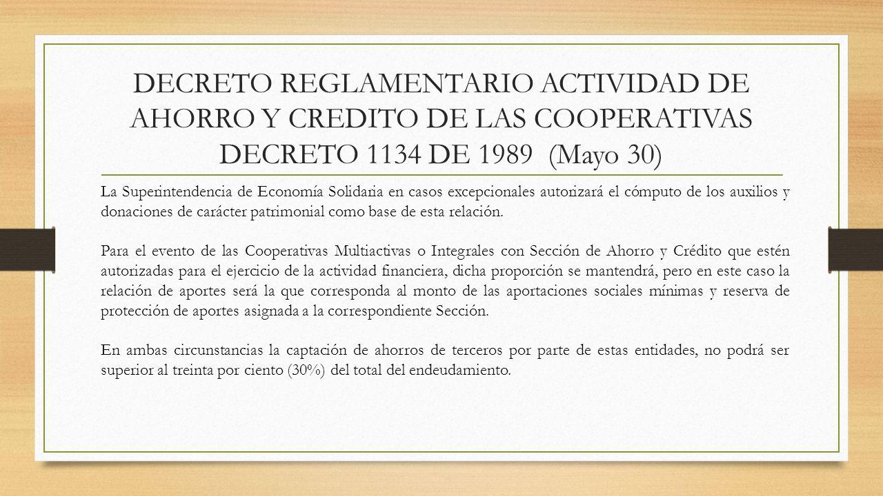 DECRETO REGLAMENTARIO ACTIVIDAD DE AHORRO Y CREDITO DE LAS COOPERATIVAS DECRETO 1134 DE 1989 (Mayo 30) La Superintendencia de Economía Solidaria en ca