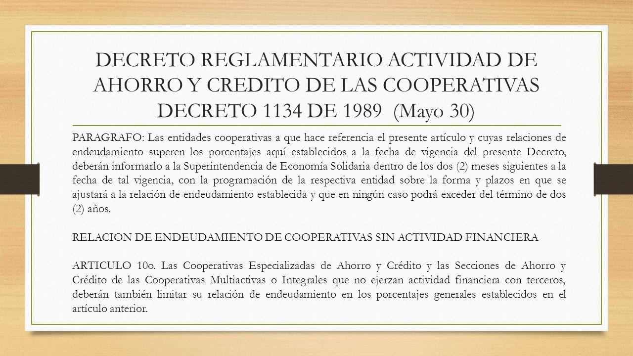 DECRETO REGLAMENTARIO ACTIVIDAD DE AHORRO Y CREDITO DE LAS COOPERATIVAS DECRETO 1134 DE 1989 (Mayo 30) PARAGRAFO: Las entidades cooperativas a que hac