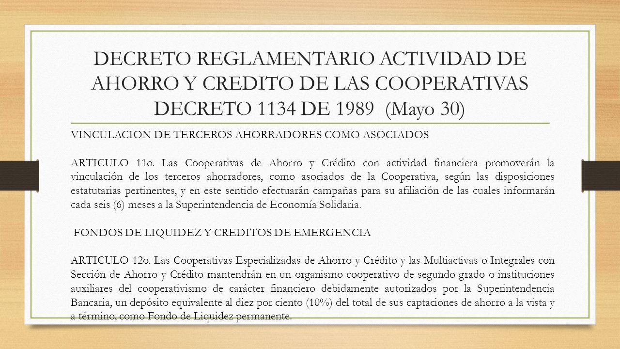 DECRETO REGLAMENTARIO ACTIVIDAD DE AHORRO Y CREDITO DE LAS COOPERATIVAS DECRETO 1134 DE 1989 (Mayo 30) VINCULACION DE TERCEROS AHORRADORES COMO ASOCIA