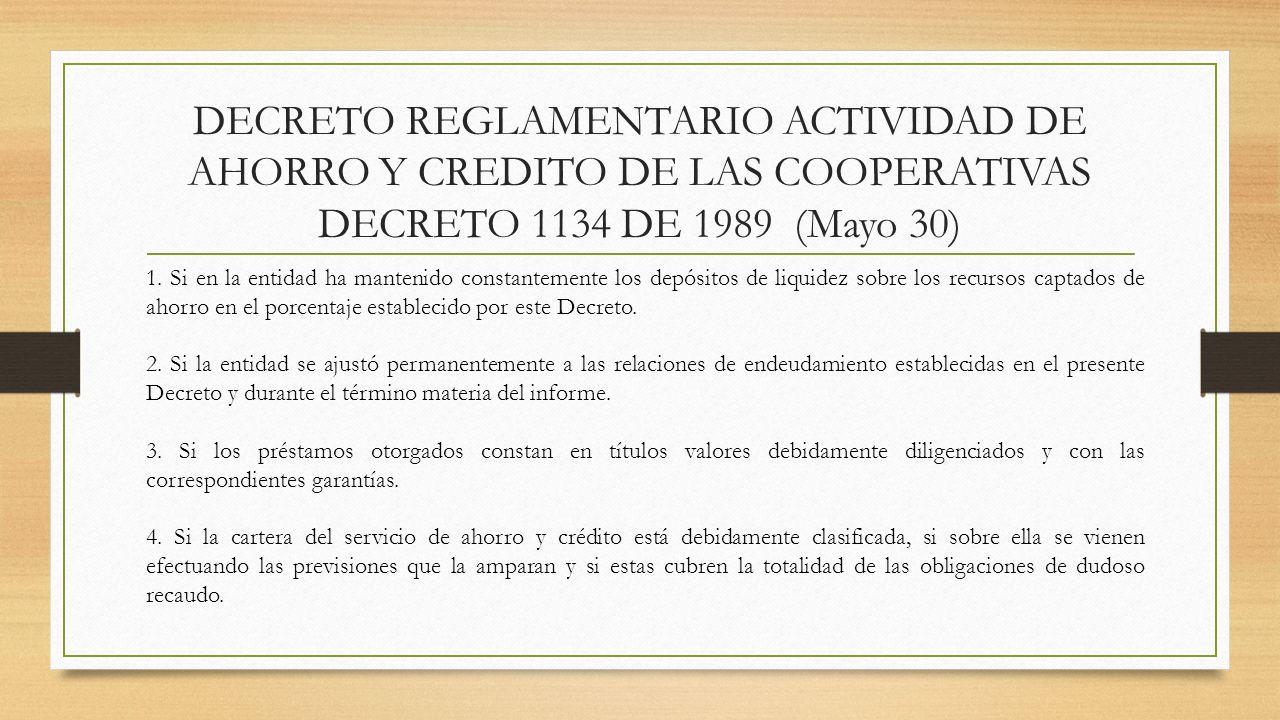 DECRETO REGLAMENTARIO ACTIVIDAD DE AHORRO Y CREDITO DE LAS COOPERATIVAS DECRETO 1134 DE 1989 (Mayo 30) 1. Si en la entidad ha mantenido constantemente