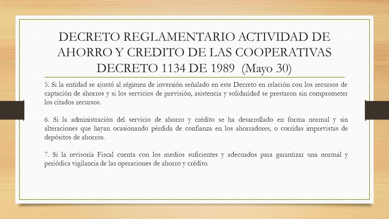 DECRETO REGLAMENTARIO ACTIVIDAD DE AHORRO Y CREDITO DE LAS COOPERATIVAS DECRETO 1134 DE 1989 (Mayo 30) 5. Si la entidad se ajustó al régimen de invers