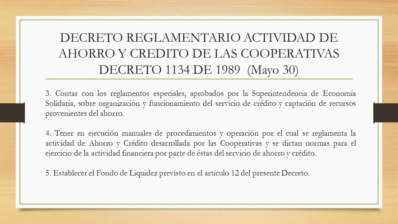 DECRETO REGLAMENTARIO ACTIVIDAD DE AHORRO Y CREDITO DE LAS COOPERATIVAS DECRETO 1134 DE 1989 (Mayo 30) 3. Contar con los reglamentos especiales, aprob