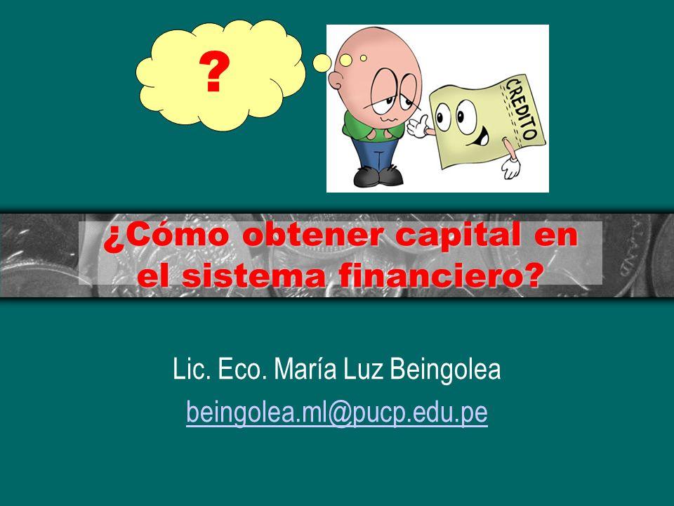 ¿ Cómo obtener capital en el sistema financiero? Lic. Eco. María Luz Beingolea beingolea.ml@pucp.edu.pe ?