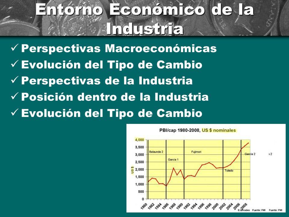 Entorno Económico de la Industria Perspectivas Macroeconómicas Evolución del Tipo de Cambio Perspectivas de la Industria Posición dentro de la Industr