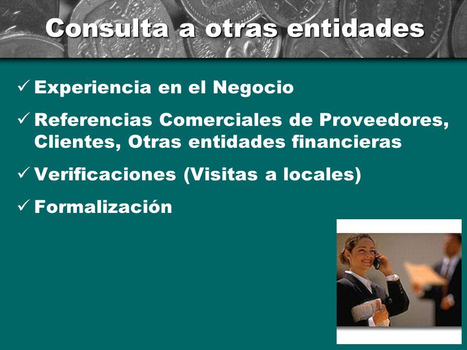 Consulta a otras entidades Experiencia en el Negocio Referencias Comerciales de Proveedores, Clientes, Otras entidades financieras Verificaciones (Vis